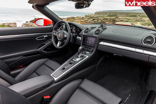 Orange -Porsche -918-Boxster -S-interior -wide