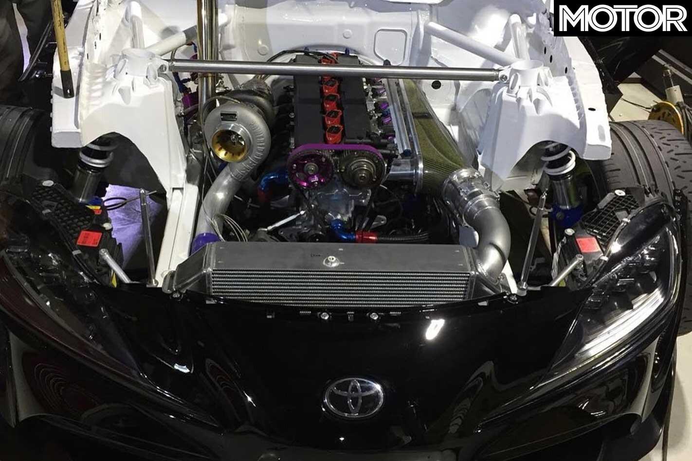 First 2 JZ Powered Toyota A 90 Supra Drift Car Engine Bay Jpg