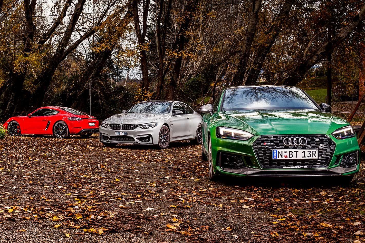 2018 Audi RS5 v BMW M4 CS v Porsche 718 Cayman GTS comparison