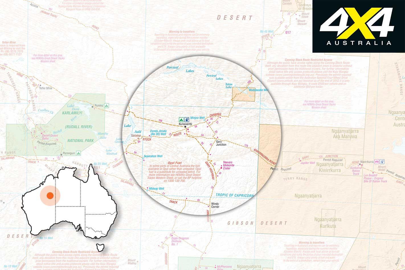 WA Great Sandy Desert 4 X 4 Trip Guide Map Jpg