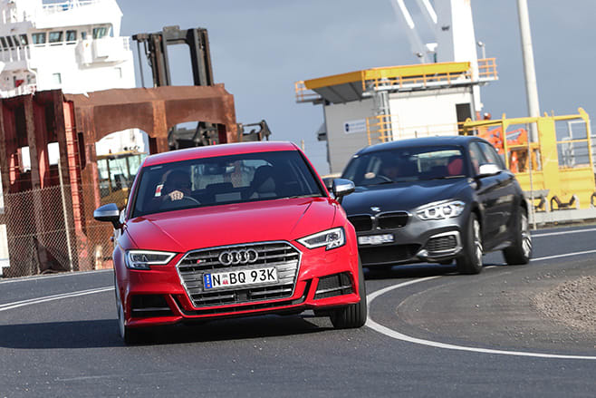 Audi S3 in front BMW M140i