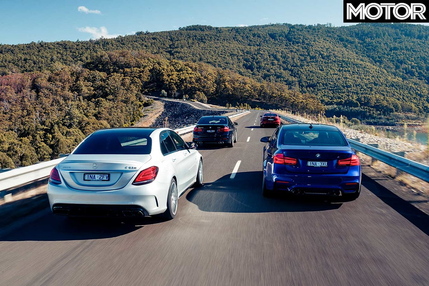 2019 Mercedes AMG C 63 S Vs Audi RS 5 Sportback Vs BMW M 3 Pure Vs Alfa Romeo Giulia Q Vs Alpina B 3 S Comparison Drive Rear Jpg