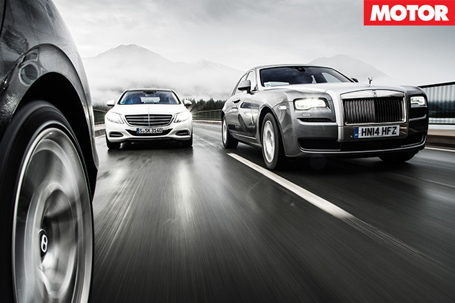 S600 vs Ghost vs Flying Spur driving front