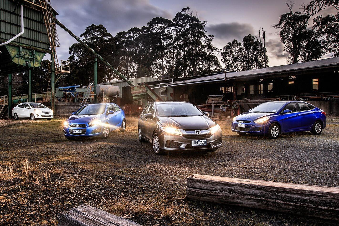 Holden Barina CD v Honda City VTi v Hyundai Accent Active v Mitsubishi Mirage ES