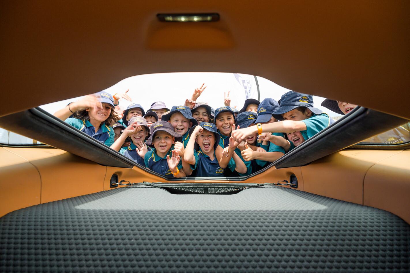 Mc Laren Tiger Stripe Students Excited With Mc Laren GT Jpg