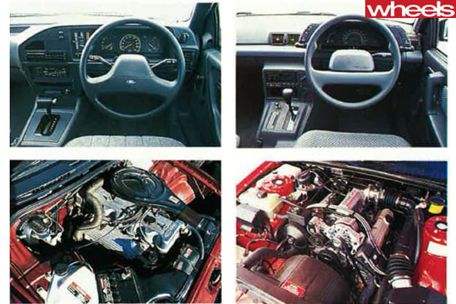 1988-Ford -Falcon -EA-26-vs -Holden -Commodore -VN-interiors -and -engines