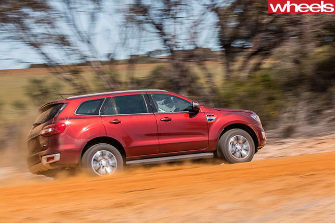 Ford -Everest -driving -on -clay -rear -side