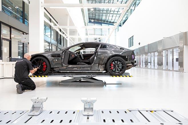 Aston Martin Vantage on hoist