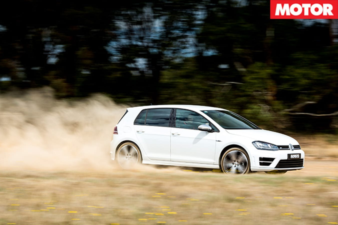 VW Golf-R driving