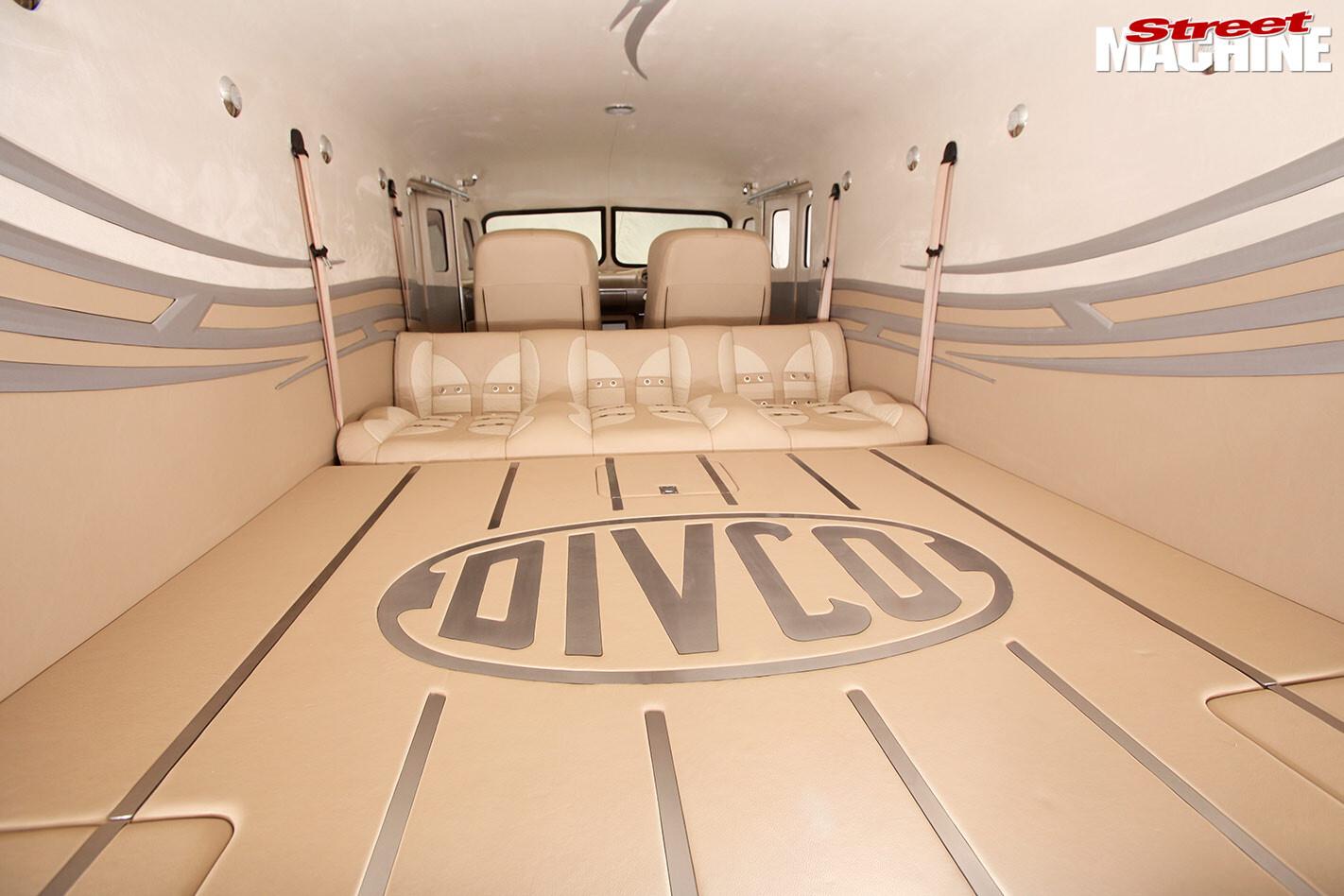 custom Divco van interior rear