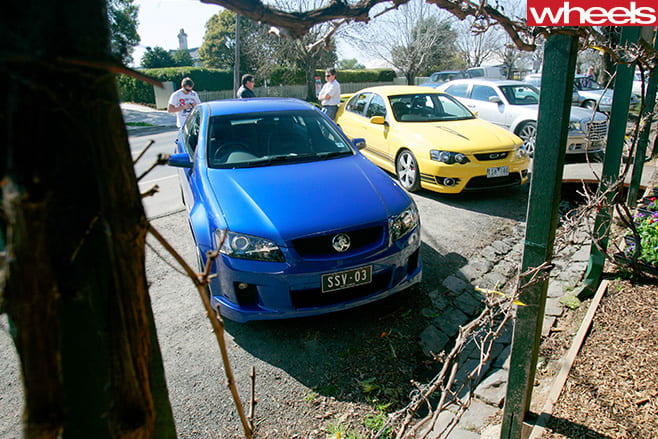 Holden -Commodore -Chrysler -300-and -FPV-GT-parked