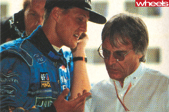 Bernie -Ecclestone -F1-CEO-with -Michael -Schumacher