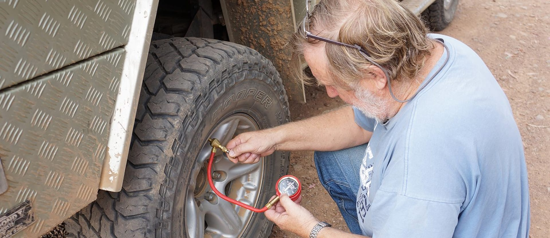 Ron Moon releasing pressure from his tyres