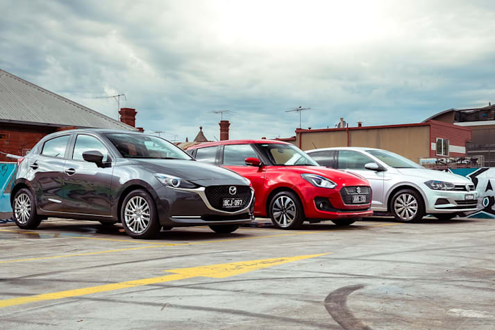 Mazda 2 vs Suzuki Swift vs VW Polo hatchback comparison