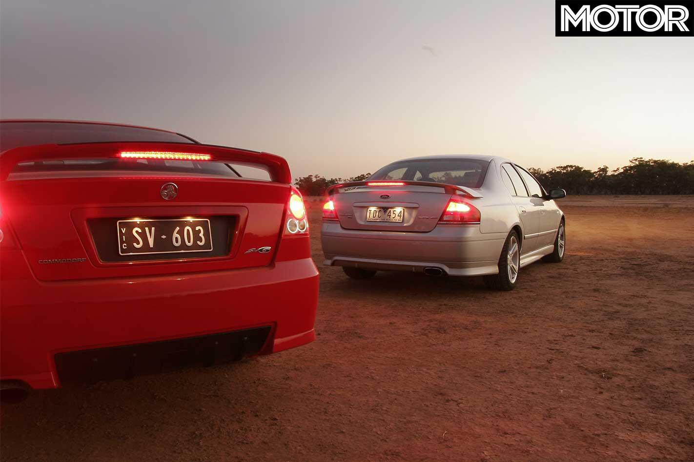 Holden Commodore SV 6 Vs Ford Falcon XR 6 Comparison Rear Jpg