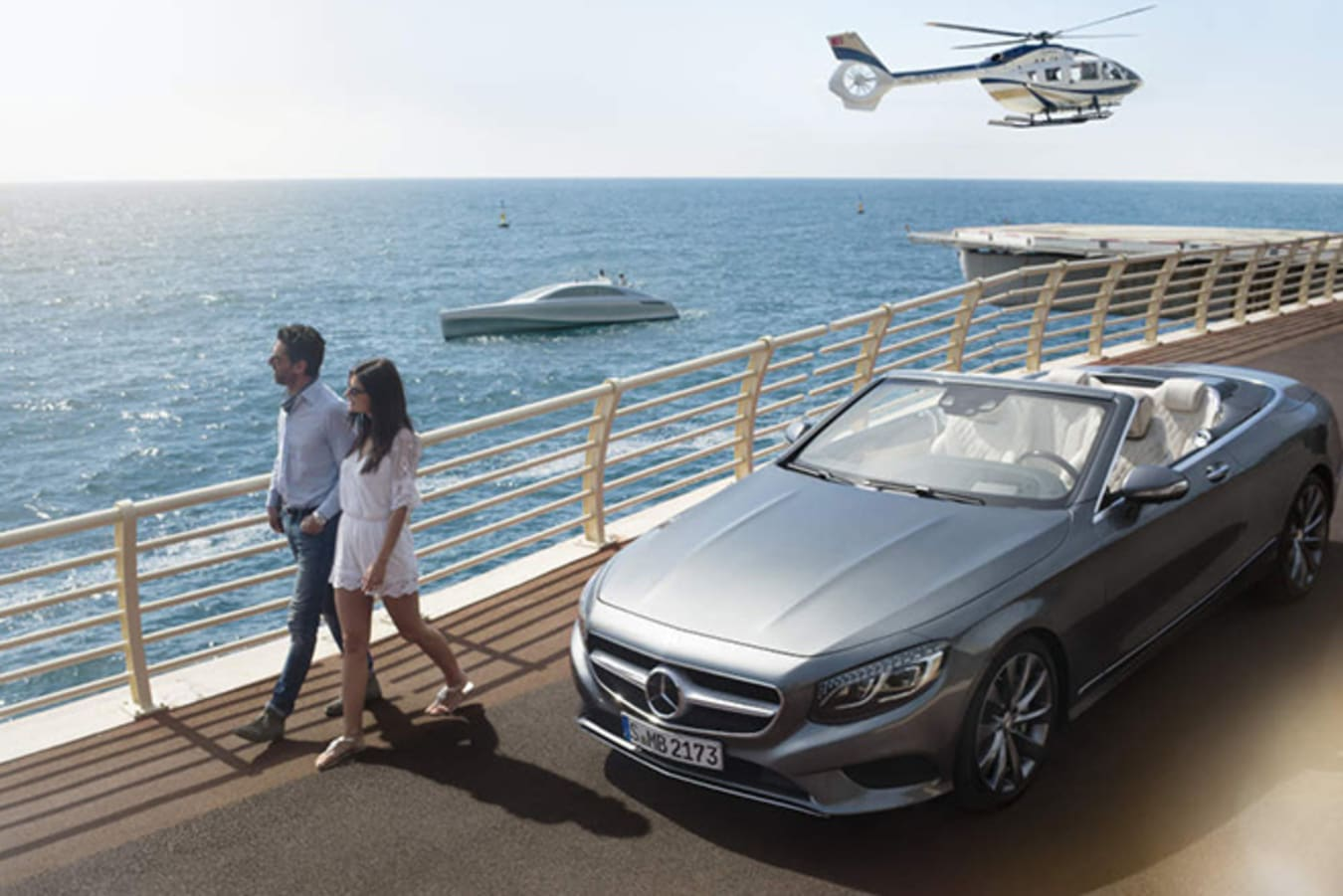 Mercedes-Benz with Silver Yacht