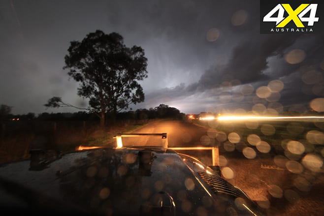 Driving the landcruiser through a storm