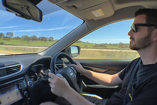 Driving Nissan Xtrail interior