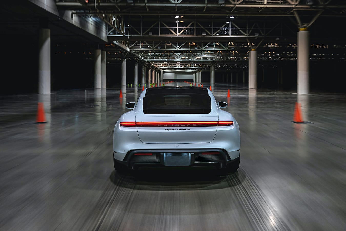 Taycan Turbo S Indoor Speed Record Rear Tracking Jpg