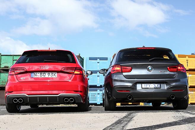 Audi S3 vs BMW M140i rear