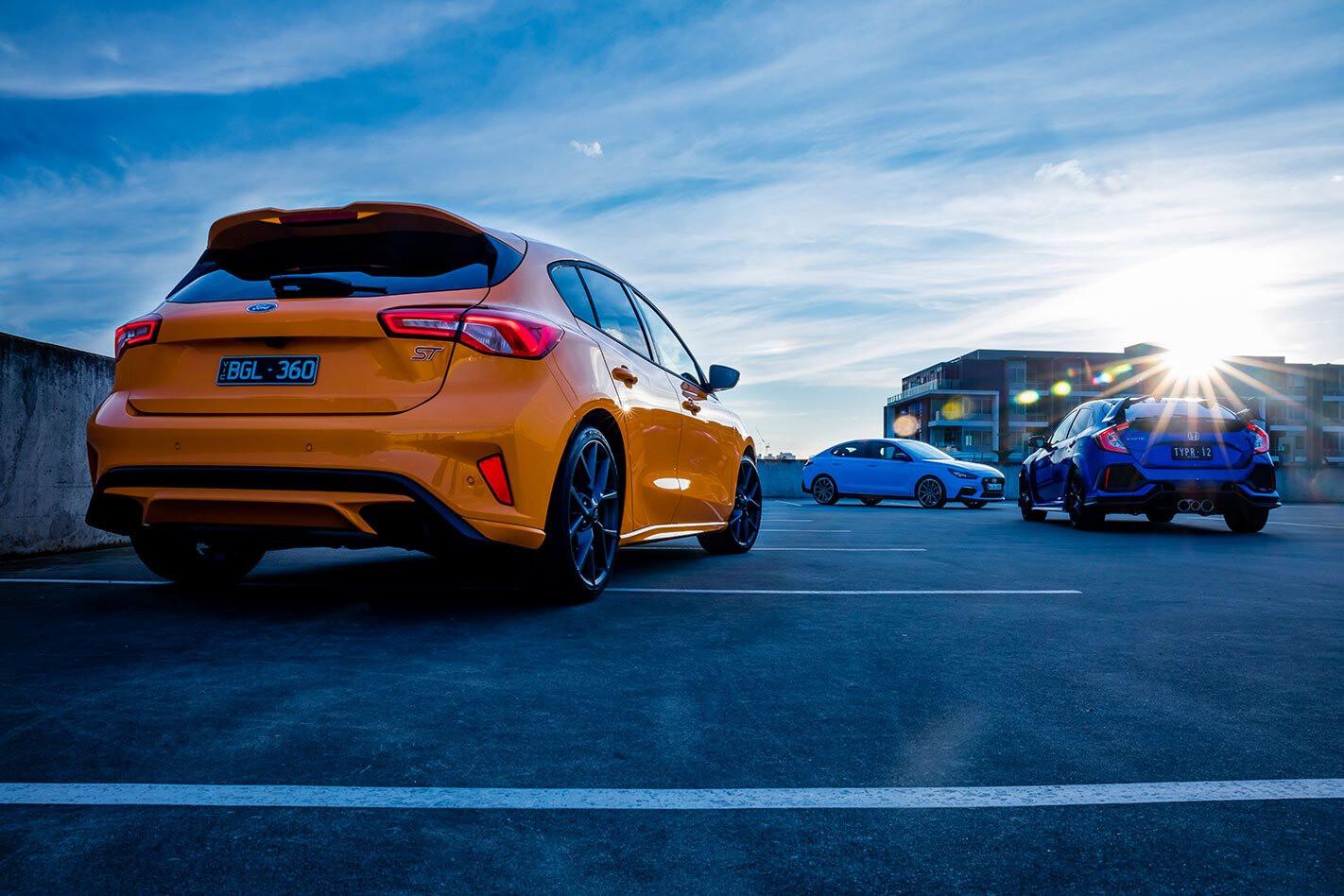 ford focus st vs honda civic type r vs hyundai i30 n fastback comparison