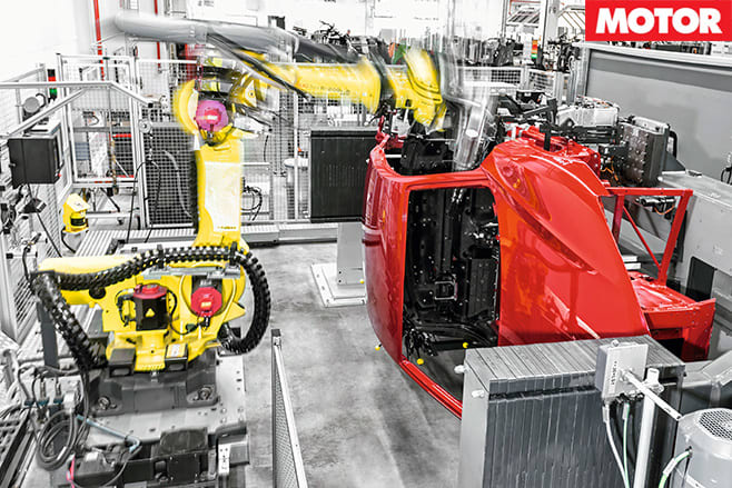 Robots assist the building of the Audi R8 cars