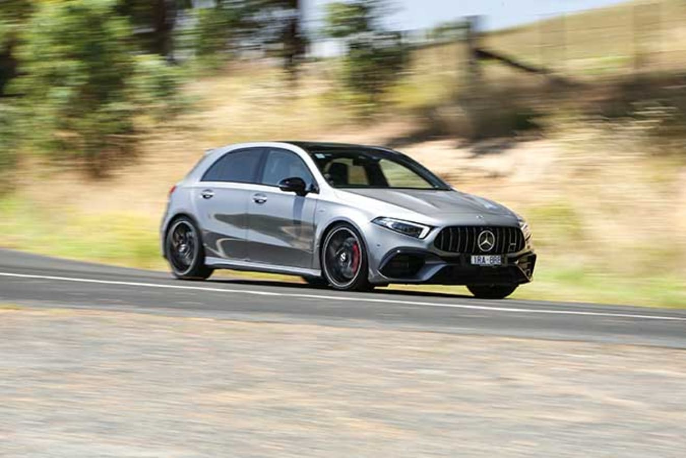 The A45 uses launch control to hit 100km/h in 3.9sec