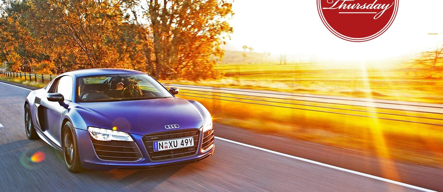 2013 Audi R8 side front driving sunset